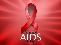 Realistic red AIDS ribbon. World AIDS day concept on red background with light effect. Vector illustration. Realistic red AIDS ribbon. World AIDS day concept on Royalty Free Stock Images