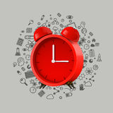 Realistic red alarm clock. Clean vector Stock Images