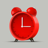 Realistic red alarm clock. Clean vector Stock Photography