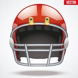 Realistic Red American football helmet. Front view Royalty Free Stock Images