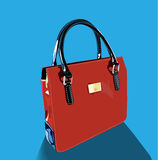 Realistic red bag with handles. On blue background Stock Photos