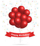 Realistic red balloons. Birthday background. Stock Photography