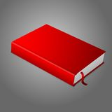 Realistic red blank hardcover book with bookmark. Stock Photo