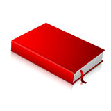 Realistic red blank hardcover book with bookmark Stock Photos