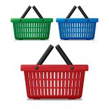 Realistic red, blue and green empty supermarket shopping basket isolated. Basket market cart for sale with handles. Vector illustration EPS 10 vector illustration