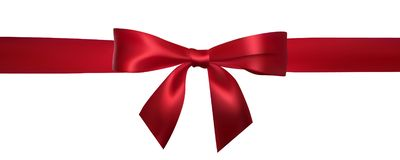 Realistic red bow with horizontal red ribbons isolated on white. Element for decoration gifts, greetings, holidays. Vector royalty free illustration
