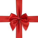 Realistic red bow isolated on white background Stock Images