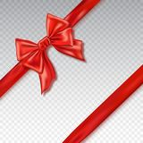 Realistic red bow and ribbon isolated on checkered background. Template for greeting card, poster or brochure. Royalty Free Stock Images