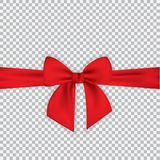 Realistic red bow and ribbon isolated on transparent background. Template for greeting card, poster or brochure. Vector. Illustration. EPS 10 Royalty Free Stock Photo