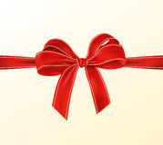 Realistic Red Bow With Ribbon With Light Yellow Lines Stock Images