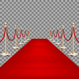 Realistic Red carpet between rope barriers. EPS 10 Royalty Free Stock Photos