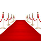 Realistic Red carpet between rope barriers. EPS 10 Royalty Free Stock Photography