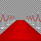 Realistic Red carpet between rope barriers. EPS 10. Realistic Red carpet between rope barriers on ceremonial vip event.  on transparent backround. And also Stock Photo