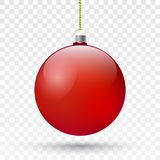 Realistic red Christmas ball . Vector Xmas tree decoration. Realistic red Christmas ball.Vector Xmas tree decoration.Vector eps10 royalty free illustration