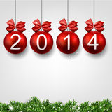 Realistic red christmas balls with 2014. Red christmas balls. New year illustration. 2014 stock illustration