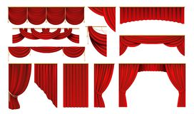 Realistic red curtains. Cinema and theater stage borders, 3D elegant backdrop drapery. Vector movie and opera interior