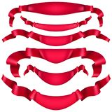 Realistic Red decorative ribbon. EPS 10. Realistic Red decorative ribbon, banners, stripe set isolated on white. And also includes EPS 10 vector Royalty Free Stock Images