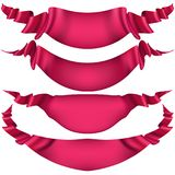 Realistic Red decorative ribbon. EPS 10. Realistic Red decorative ribbon, banners, stripe set isolated on white. And also includes EPS 10 vector stock illustration