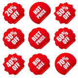 Realistic red discount stickers set Stock Images