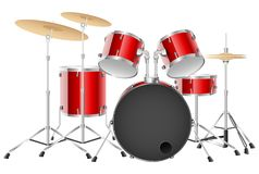 Realistic red drum set on a white background. Illustration Stock Photos