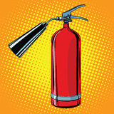 Realistic red fire extinguisher pop art Stock Image