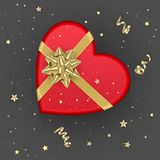 A realistic red gift box with shape of heart decorated with a gold bow, top view. Vector illustration stock illustration