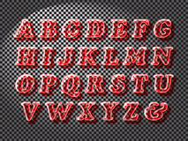 Realistic red glass font Stock Images