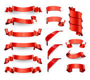 Realistic Red Glossy vector ribbons. Large set. Royalty Free Stock Photography