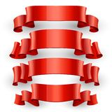 Realistic Red Glossy vector ribbons set Royalty Free Stock Image
