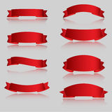 Realistic Red Glossy vector ribbons with a stripe Stock Photos