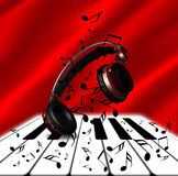 Realistic Red headphones with Music Notes and Piano. Realistic red headphones with music notes and a piano at red background stock illustration