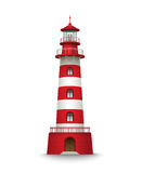 Realistic red lighthouse building isolated on white background. Vector illustration Royalty Free Stock Image