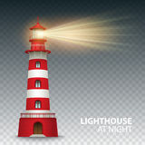 Realistic red lighthouse building  on white background. Vector illustration Royalty Free Stock Image