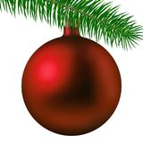 Realistic red matte Christmas ball or bauble with fir branch isolated on white background. Vector illustration. Vector realistic illustration red matte Christmas Stock Images
