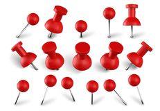 Free Realistic Red Push Pins. Attach Buttons On Needles, Pinned Office Thumbtack And Paper Push Pin Vector Set. Stationery Stock Photography - 162811952