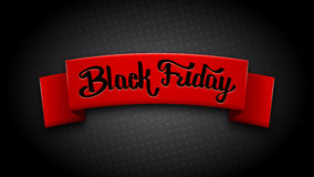 Realistic red ribbon for Black Friday Sale. On halftone background. Special offer banner. Sale inscription on red silk ribbon. Vector illustration. Hand Stock Photography