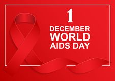 Realistic red ribbon, first of December, world AIDS day. Vector, EPS10 vector illustration