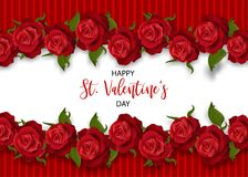 Realistic red rose valentines card. Realistic red rose St Valentine`s day card. Love flower bouquet Valentines banner frame. Beautiful holiday blossom invitation Royalty Free Stock Images