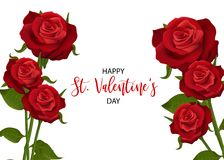 Realistic red rose valentines card. Realistic red rose St Valentine`s day card. Love flower bouquet Valentines banner frame. Beautiful holiday blossom invitation Royalty Free Stock Image