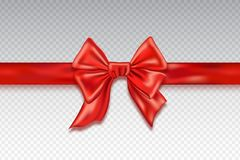 Realistic red satin bows isolated on checkered background.   Royalty Free Stock Images