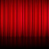 Realistic Red Theatrical Closed Curtain Stock Photos
