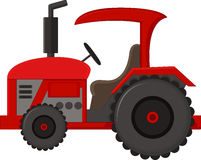 Realistic red tractor icon, logo, shape with big wheels isolated with smoke on white background. Illustration of Realistic red tractor icon, logo, shape with big Royalty Free Stock Photo