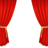 Realistic red velvet curtain. Isolated on white background. Vector illustration Royalty Free Stock Photos