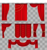 Realistic red velvet stage curtains, scarlet theatre drapery  on transparent background. Curtain velvet red color for decoration theater interior. Vector Stock Photography
