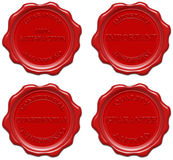 Realistic red wax seal with text Stock Photo
