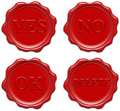 Realistic red wax seal with text Stock Images