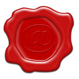 Realistic red wax seal with text: e-mail Stock Photography