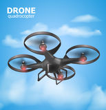 Realistic remote air drone quadrocopter flying in the sky and monitoring security. Isomertic view. Vector illustration Royalty Free Stock Image