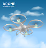 Realistic remote air drone quadrocopter flying in the sky and monitoring security. Isomertic view. Vector illustration. EPS10 Stock Photo
