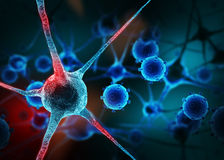 Realistic rendering of neurone - on the blue background.  Stock Images